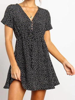 V-Neck Short-Sleeved Dot Chiffon Dress