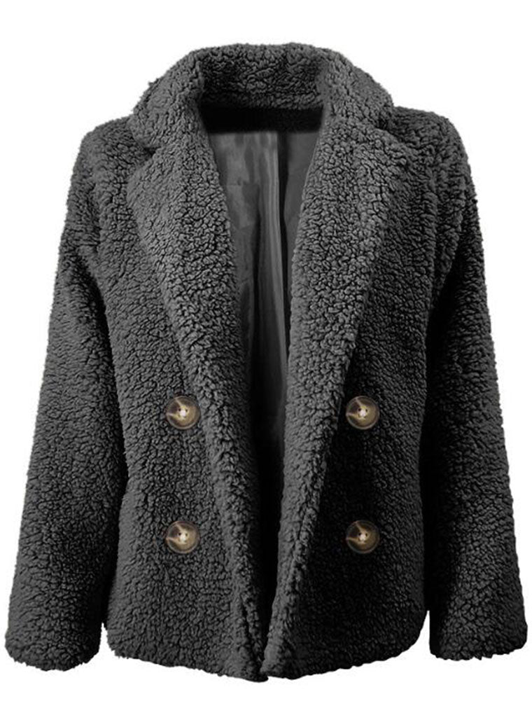 DOUBLE-ROW BUTTONED PIUSH CARDIGAN COAT