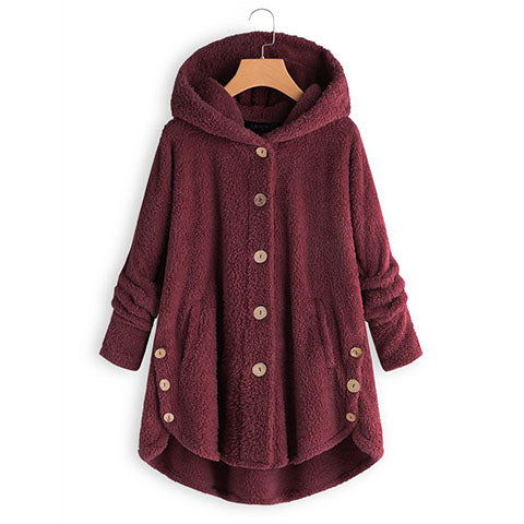 SOLID COLOR HOODED PLUSH COAT