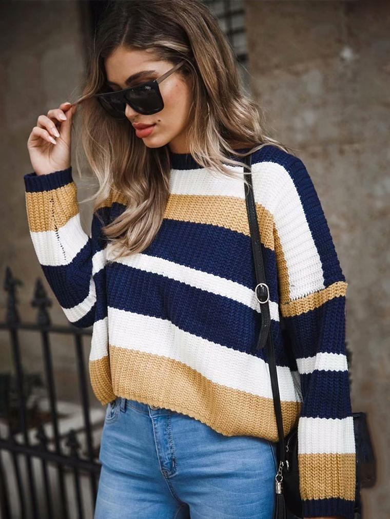 Round Neck Long Sleeve Stitching Loose Sweater