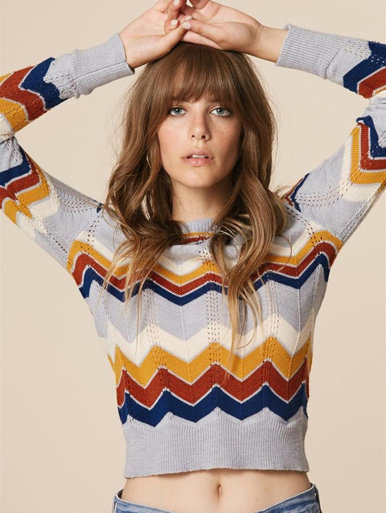 OL Round Neck Pullover Striped Rainbow Sweater