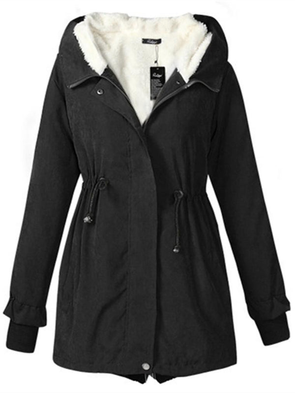 Thickened Lambskin Swallowtail Mid-length Cotton Coat