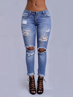Broken Hole Pencil Stretch Jeans