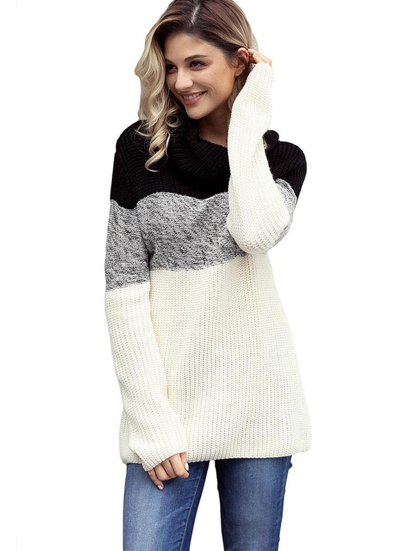 Ribbed Contrast Long Sleeve Turtleneck Sweater