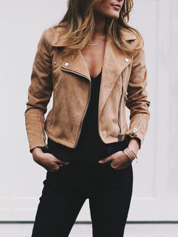 Lapel Zip Short Ladies Suede Jacket