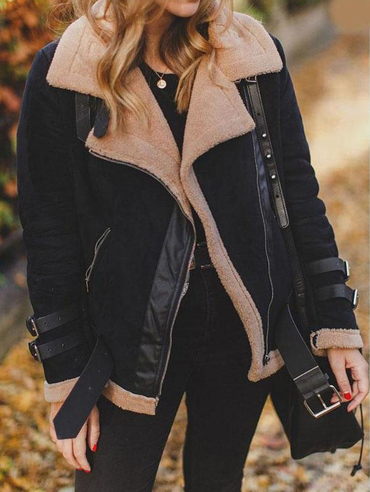 Women's Faux Leather Moto Biker Short Coat Jacket