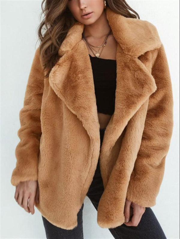 Autumn Winter Coats Sexy Plush Lapels Comfortable Slim Jacket