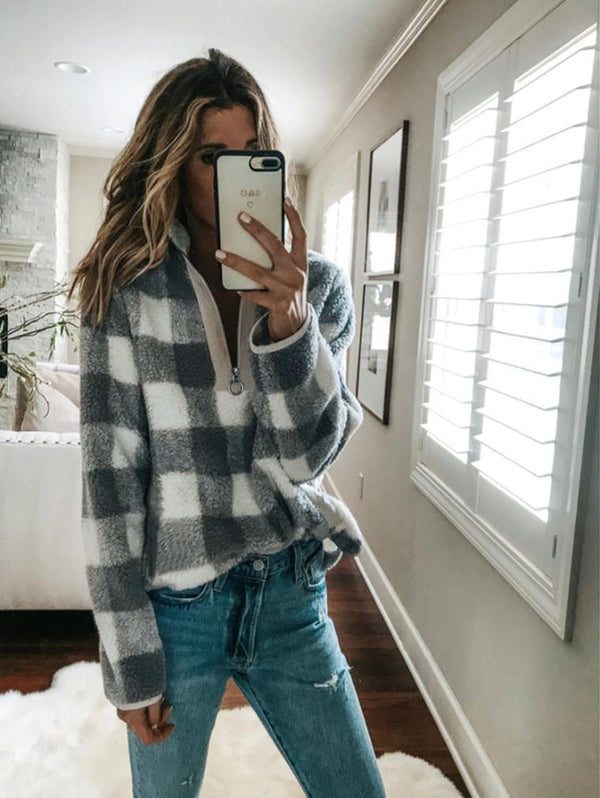 Plaid Long Sleeve High Collar Zipper Sweater Coat