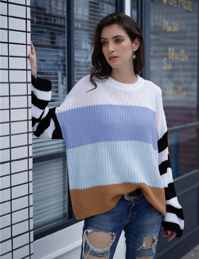 Loose Multi-color Stitching Sweater