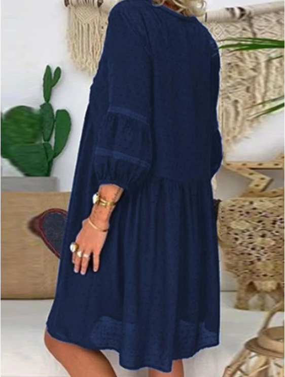 ABOVE KNEE V-NECK THREE-QUARTER SLEEVE CASUAL PULLOVER DRESS
