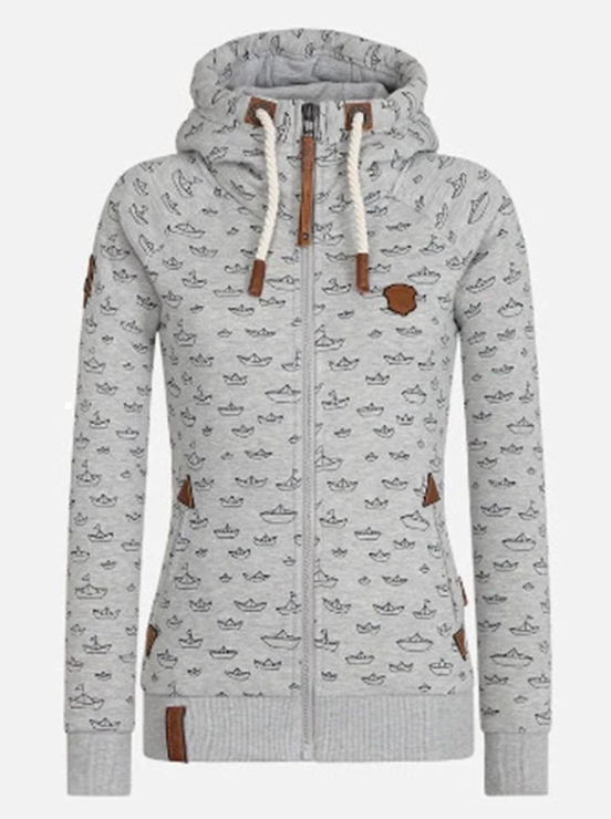 ZIPPER PRINT HOODED LONG SLEEVE HOODIE