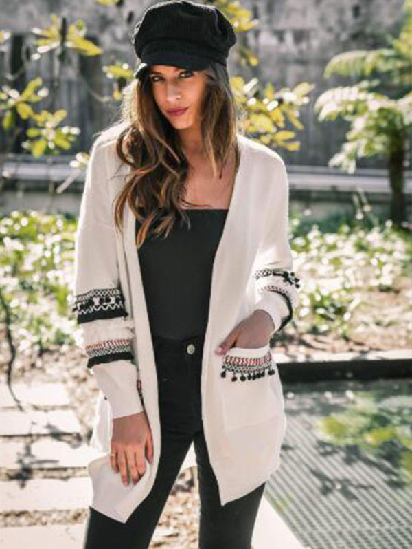 FASHION LONG SLEEVE LONG CARDIGN