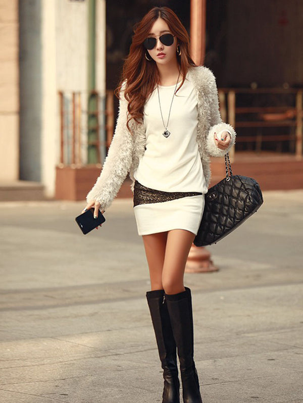 SLIM FIT HIP LONG SLEEVE BOTTOMING DRESS