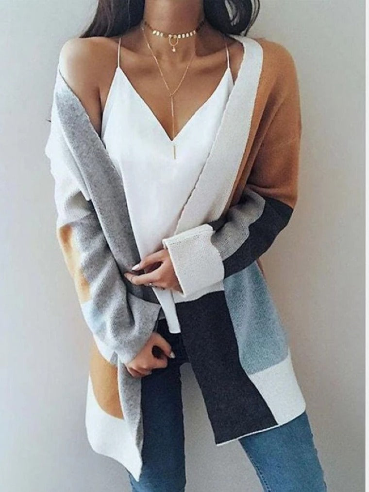 CONTRAST LONG SLEEVE LOOSE KNIT CARDIGAN