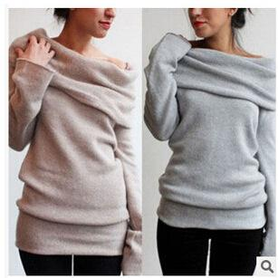 Pure Color Pile Collar Wild Sweater