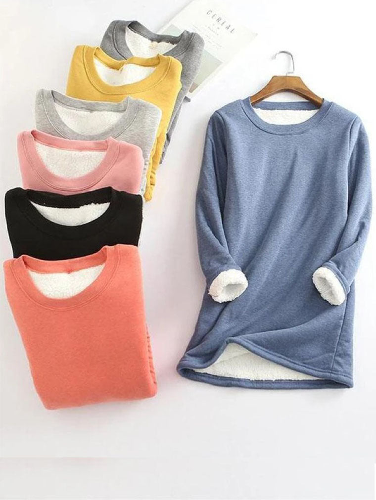 S-5XL LONG SLEEVE SOLID FLEECED T-SHIRTS