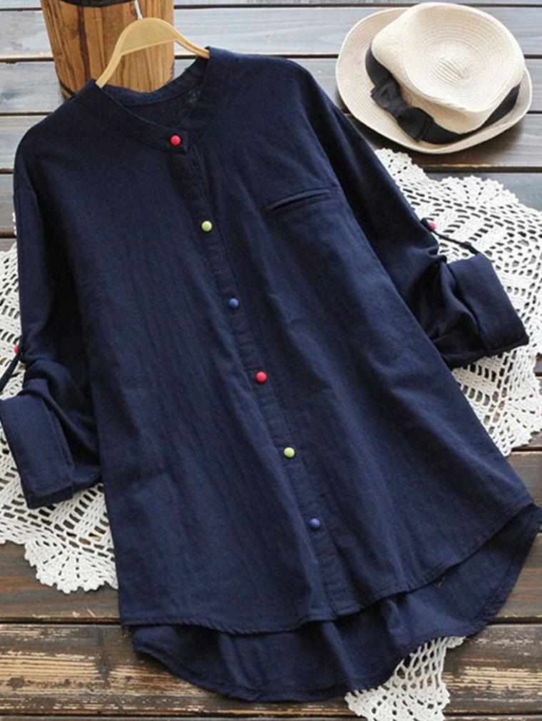 Women Long Sleeve Casual Asym Cotton Blouse