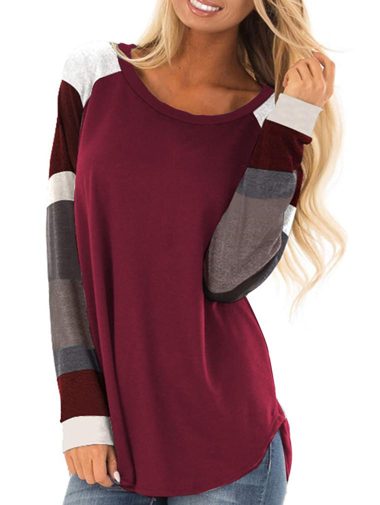 Women's Round neck Contrast Color Stitching Long-sleeved T-shirt