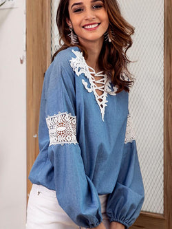 V-neck Lace Stitching Long-sleeved Shirt