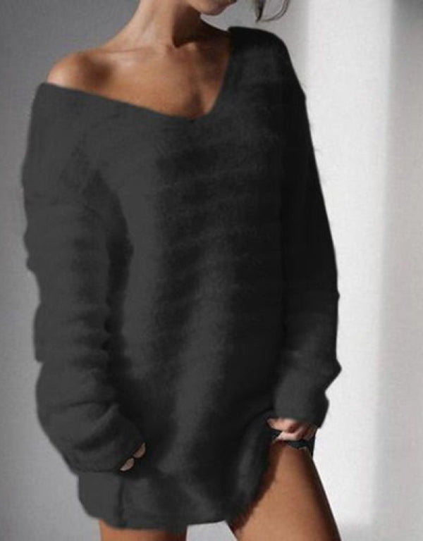 SOLID COLOR LONG SLEEVE KNIT SWEATER