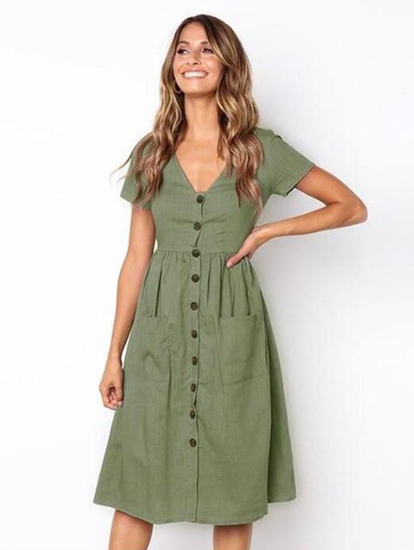 Women's Fashion Short Sleeve V Neck Button Down Swing Midi Dress