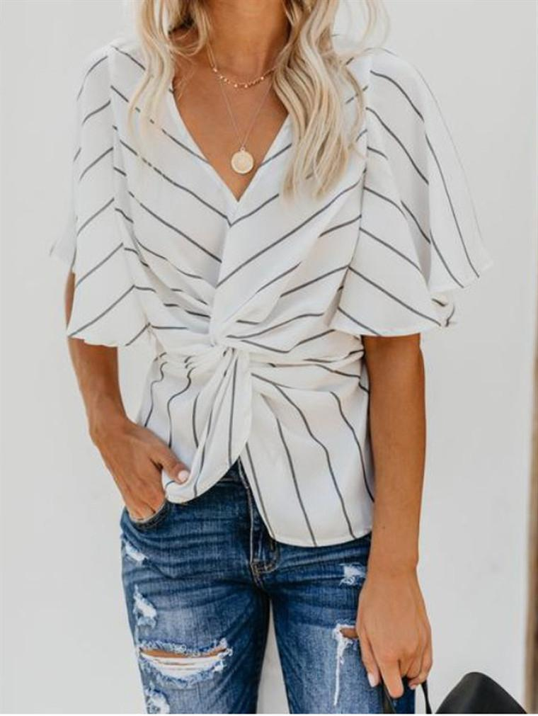 V-Neck Striped Chiffon Bat Shirt