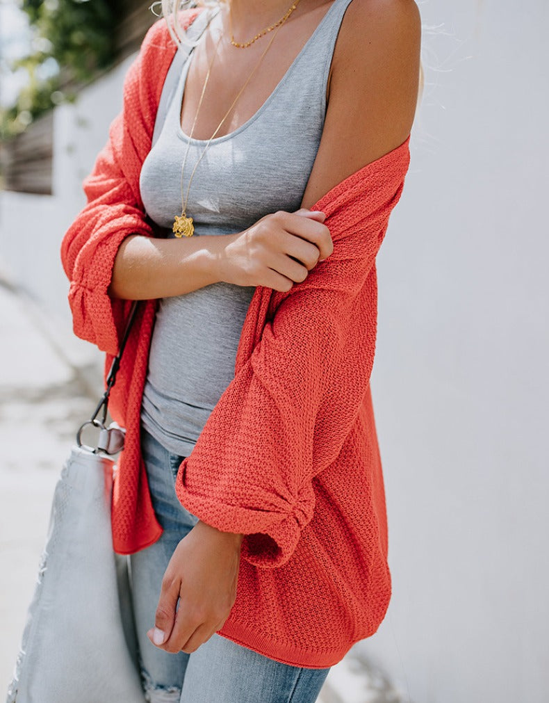 LOOSE KNIT CARDIGAN SWEATER