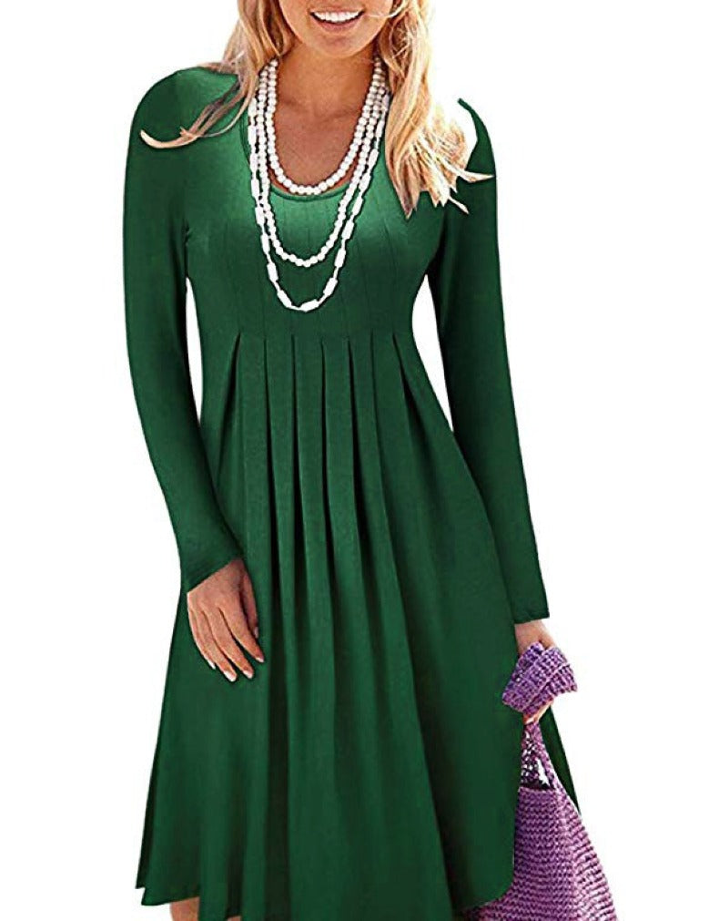 LARGE SIZE ROUND NECK LONG SLEEVE CASUAL-DRESSES
