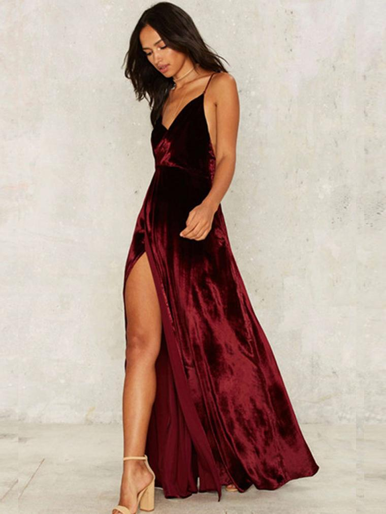 Velvet Sexy Cross Strap Open Back Open Dress Maxi Skirt