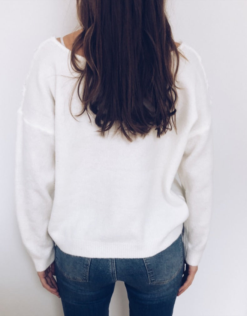 LACE STITCHING V-NECK SOLID COLOR LONG SLEEVE SWEATER
