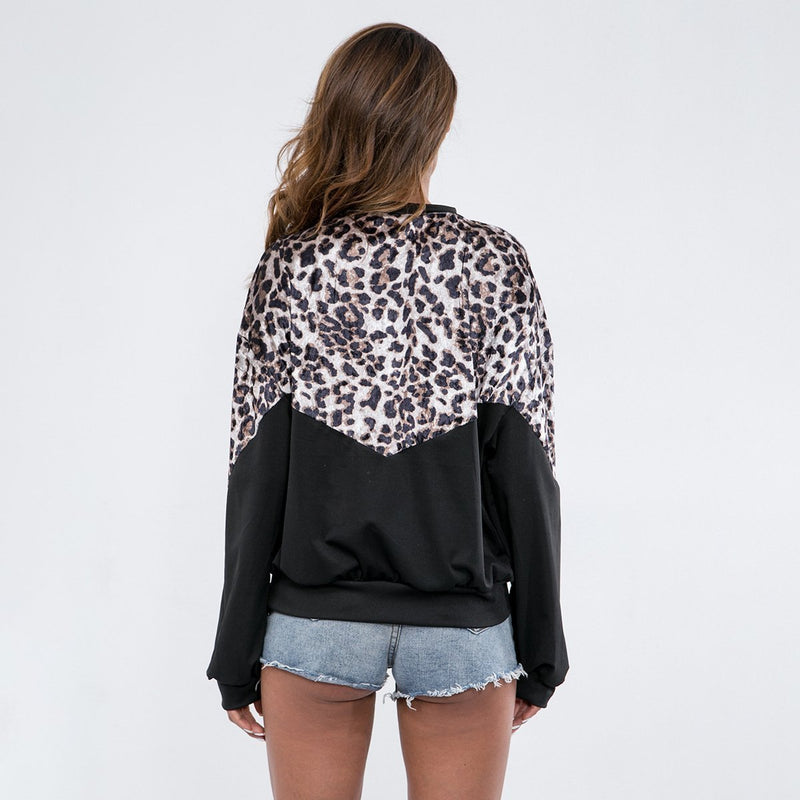 Stitching Leopard Round Neck Casual Sweater