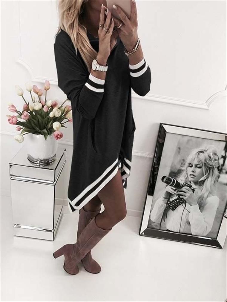 Hooded Striped Loose Casual Dress