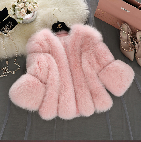 SHORT FASHION FAUX FUR COAT