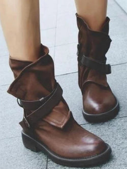 Buckle Flat  Leather Shoes