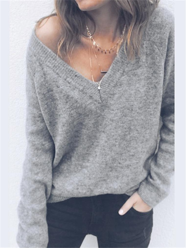 Wool V-neck Long-sleeved T-shirt Top