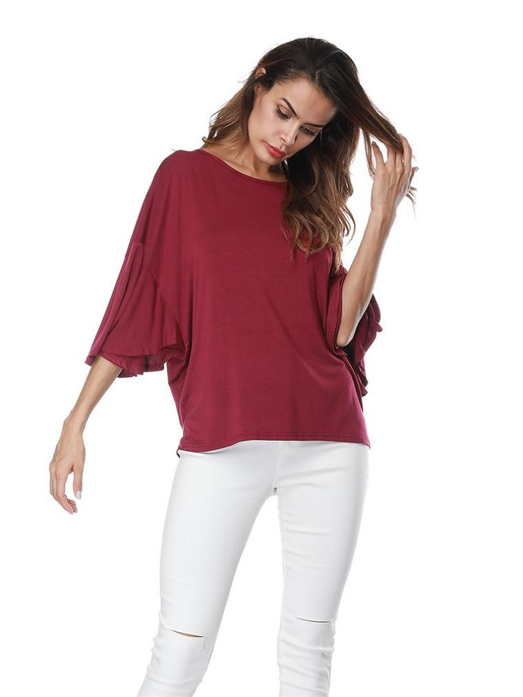 Solid Color Ruffled Sleeve Loose Shirt