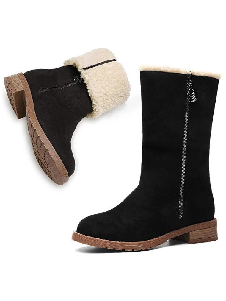 MID-TUBE THICK HEELED SNOW BOOTS