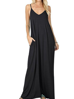 Sling V-neck Pocket Modal Dress