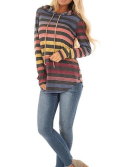 NEW STRIPED PRINT HOODED SWEATER