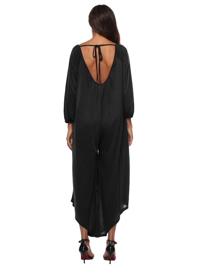 V-neckline Long Sleeve Loose Jumpsuit