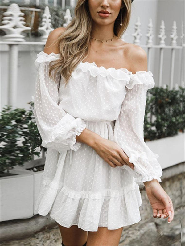 Chiffon Solid Color Off-the-shoulder Dress