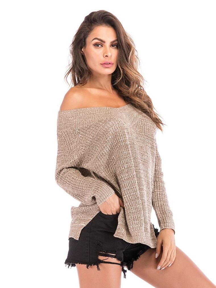 V-neck Open Shoulder Loose Sweater