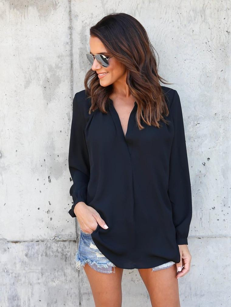 Casual V Neck Chiffon T-Shirt