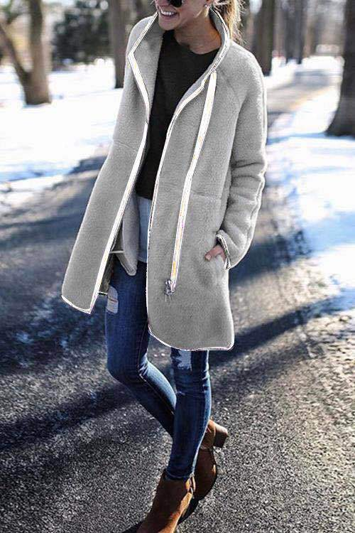 High-Neck Zip Button Long-Sleeved Coat
