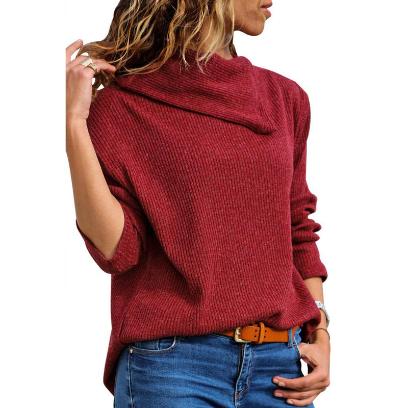 Asymmetrical High-Neck Loose Knit Sweater
