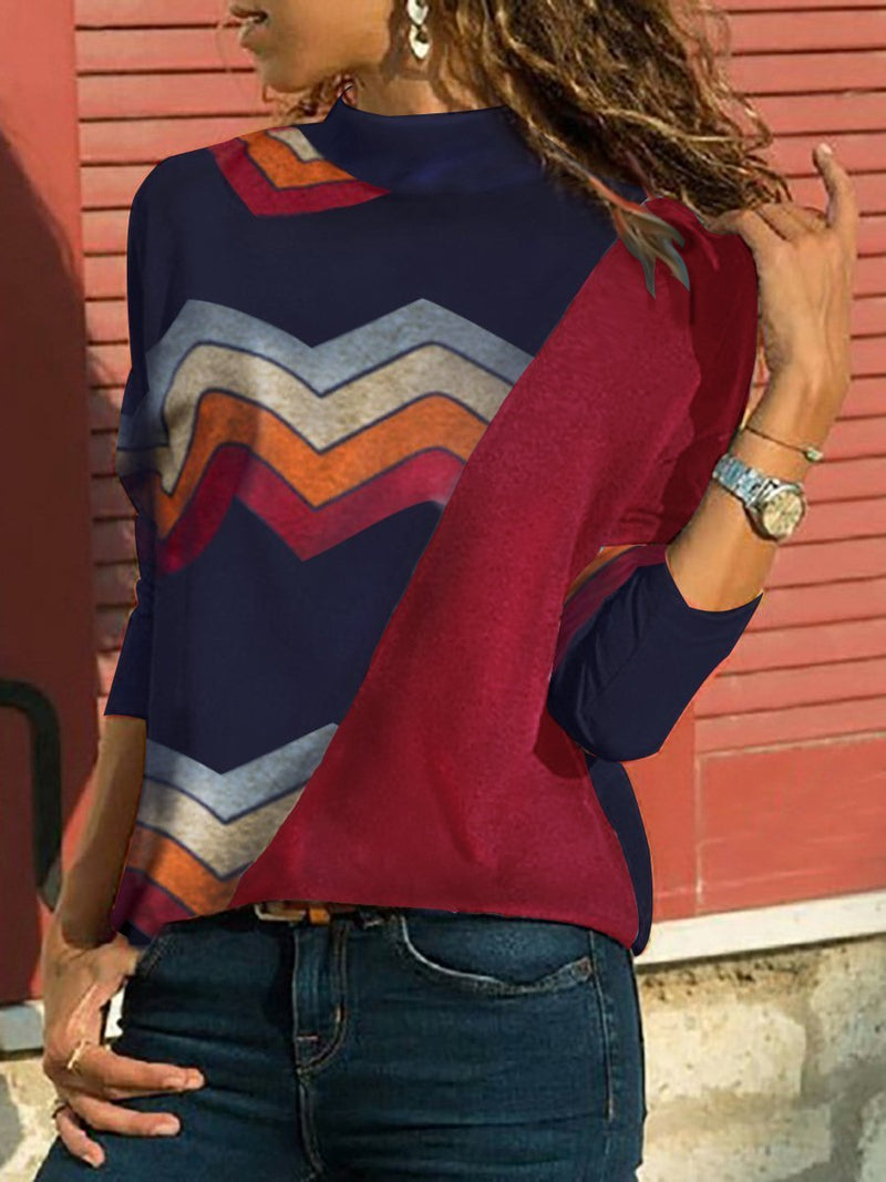 Women's Paneled Turtleneck Wave Print Long Sleeve Top