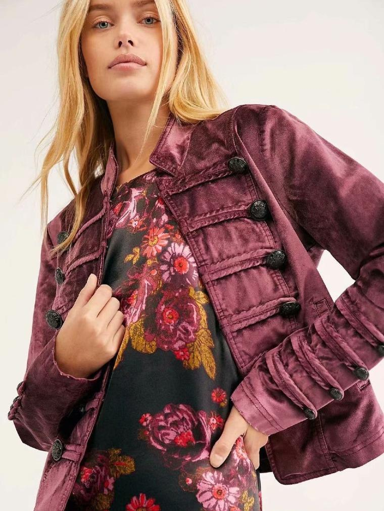 Button Decorated Velvet Jacket