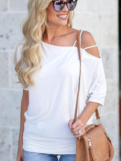 Slanted Shoulder Midi Sleeve T-shirt
