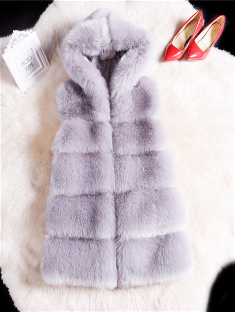 LONG HOODED PADDED VEST FOX FUR COAT