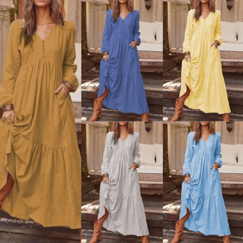 Half Sleeve Ankle-Length Round Neck Casual Pullover Maxi-Dress